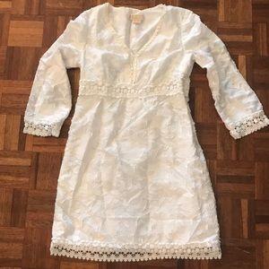Michael Kors white 3/4 sleeve dress with trim